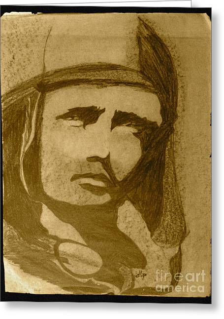 Sepia Aviator Greeting Card by Diane Phelps