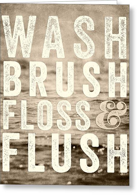 Sepia Bathroom Decor Typography For Kids Bathroom Greeting Card by Lisa Russo
