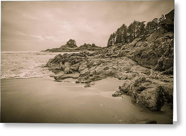 Cox Bay Sepia Greeting Card by Roxy Hurtubise