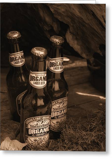 Greeting Card featuring the photograph Sepia Bottles by Rachel Mirror