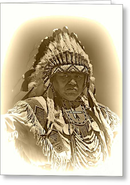 Sepia Chief Greeting Card by Scarlett Images Photography