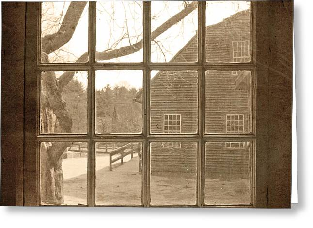 Sepia Colonial Scene Through Antique Window Greeting Card