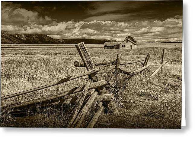 Sepia Colored Photo Of A Wood Fence By The John Moulton Farm Greeting Card by Randall Nyhof
