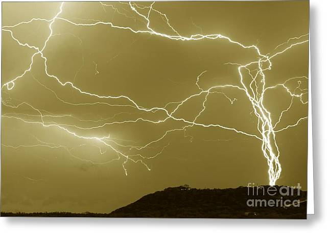 Sepia Converging Lightning Greeting Card