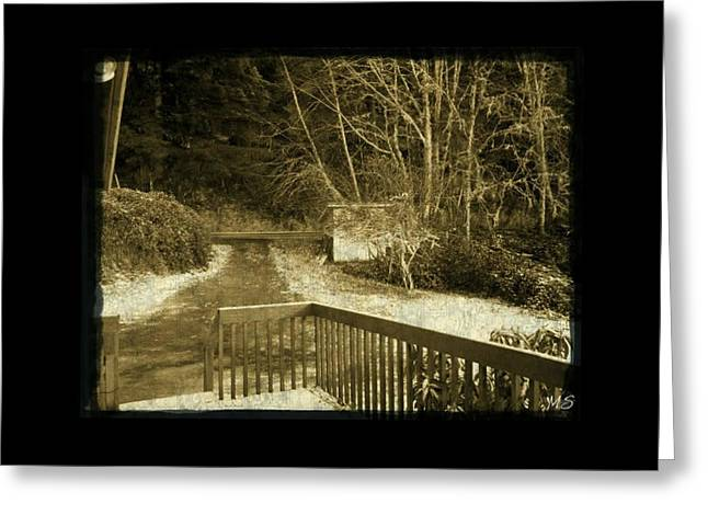 Greeting Card featuring the photograph Sepia - Country Road First Snow by Absinthe Art By Michelle LeAnn Scott