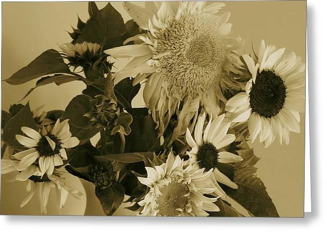 Sepia Garden Sunflower Bouquet Greeting Card