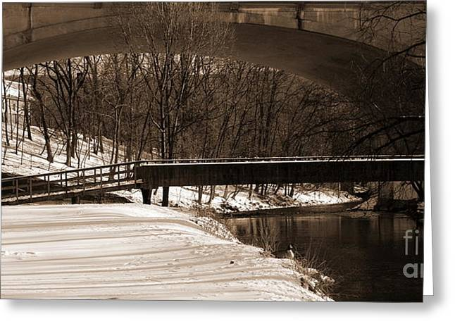 Sepia -hill To Hill Bridge And Monocacy Creek - Colonial Industrial Quarter - Bethlehem Pa Greeting Card