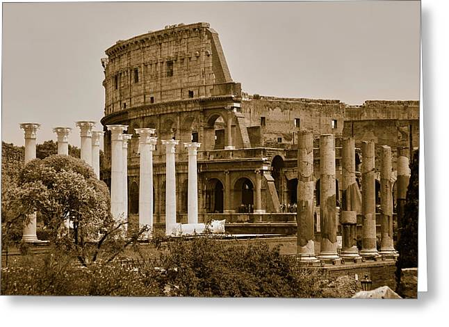 Sepia Image Of Columns Of The Forum Greeting Card