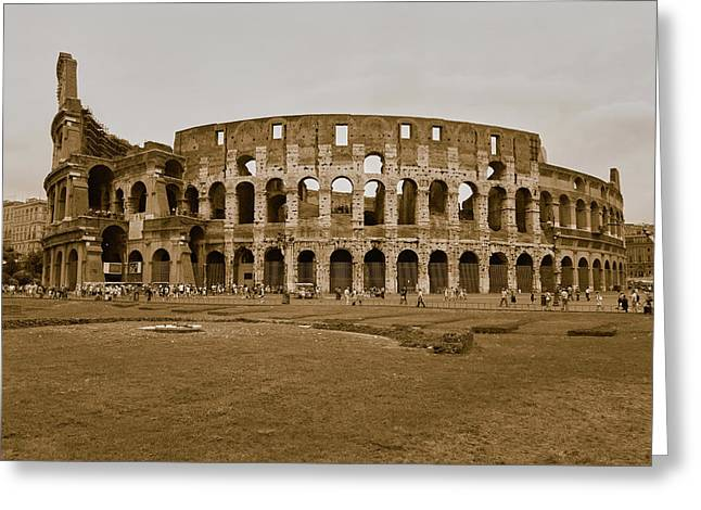 Sepia Image Of The Colosseum Or Roman Greeting Card