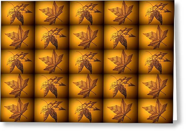 Sepia Leaves Greeting Card by Cathy Jacobs
