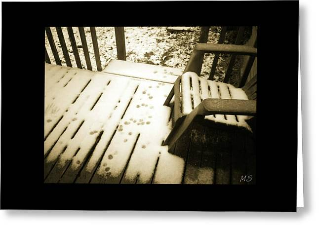 Greeting Card featuring the photograph Sepia - Nature Paws In The Snow by Absinthe Art By Michelle LeAnn Scott