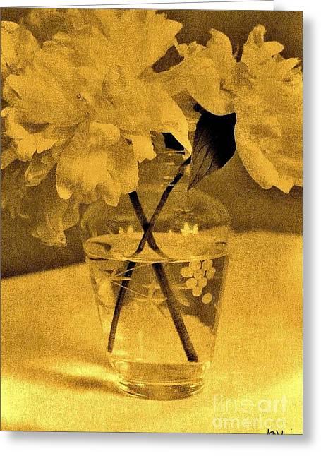 Sepia Peonies In Antique Greeting Card by Marsha Heiken