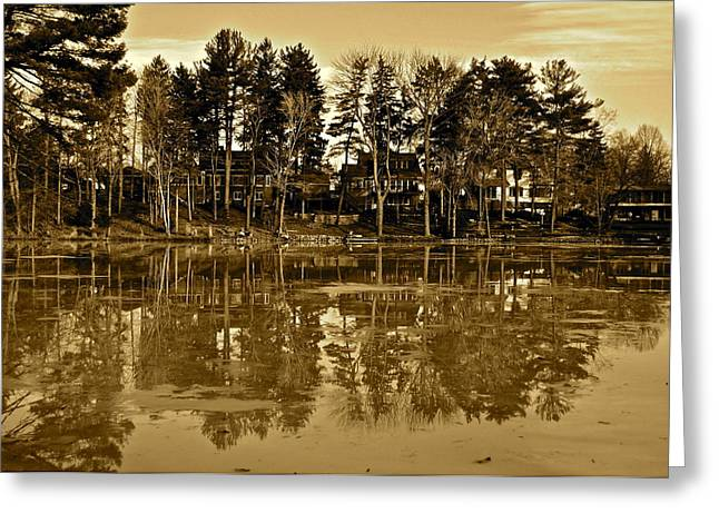 Sepia Reflection Greeting Card by Frozen in Time Fine Art Photography
