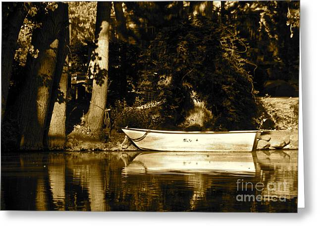 Sepia Rowboat Greeting Card by Vinnie Oakes