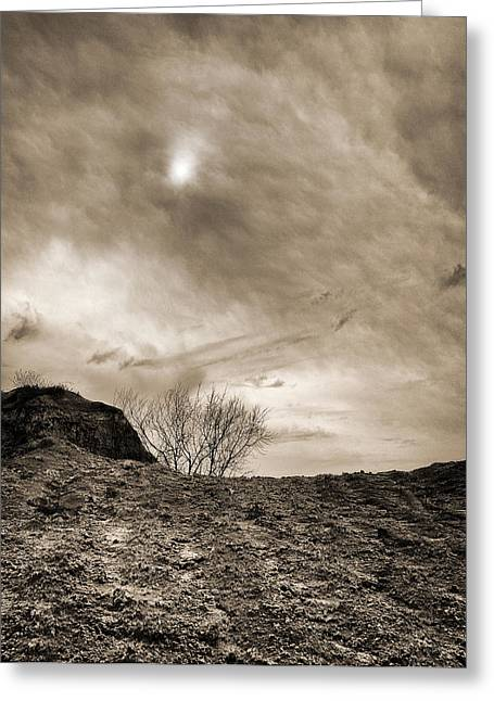 Greeting Card featuring the photograph Sepia Skies by Meir Ezrachi