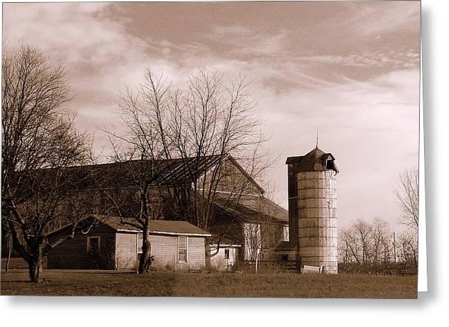 Sepia Tone Farm Late Autumn Greeting Card by Rosemarie E Seppala
