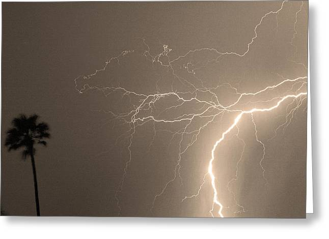 Sepia Tropical Thunderstorm Night  Greeting Card by James BO  Insogna