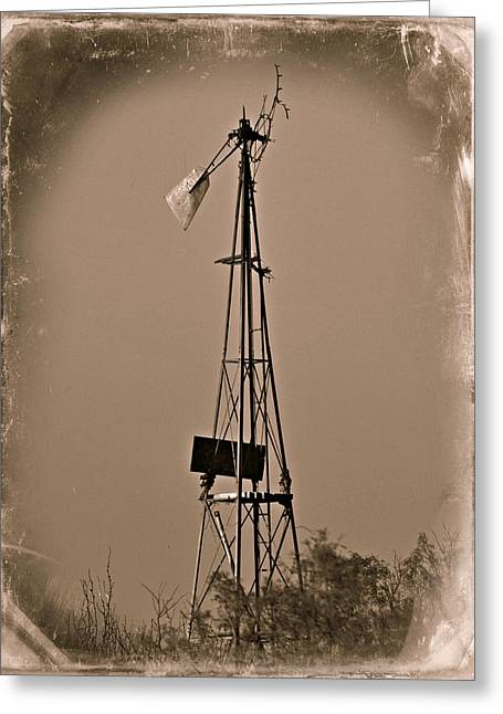 Sepia Windmill Greeting Card by Mikki Cromer