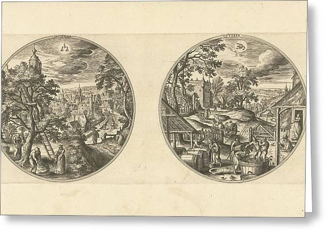 September And October, Adriaen Collaert, Hans Bol Greeting Card by Adriaen Collaert And Hans Bol And Hans Van Luyck