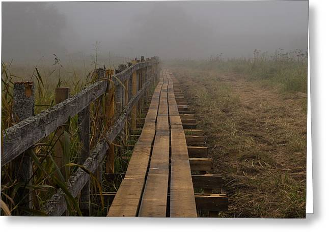 September Mist Hdr - Foggy Day Over Walk Way Greeting Card
