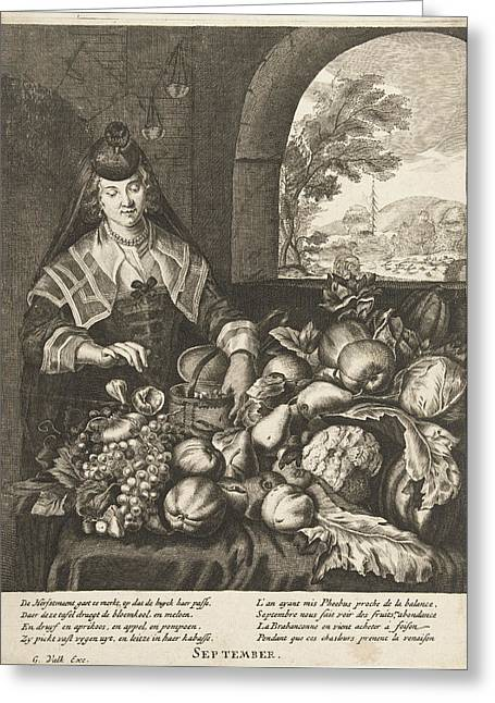 September Represented As Woman At Table Laden With Fruits Greeting Card by Cornelis Van Dalen Ii And Anonymous And Joachim Von Sandrart