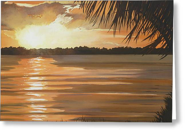 September Sunset 7 32pm Haulover Park Greeting Card by Lori Royce