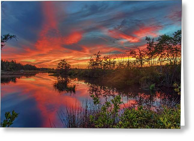 September Sunset Reflection Greeting Card