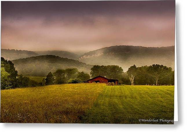 Sequatchie Vally Red Barn Greeting Card by Paul Herrmann