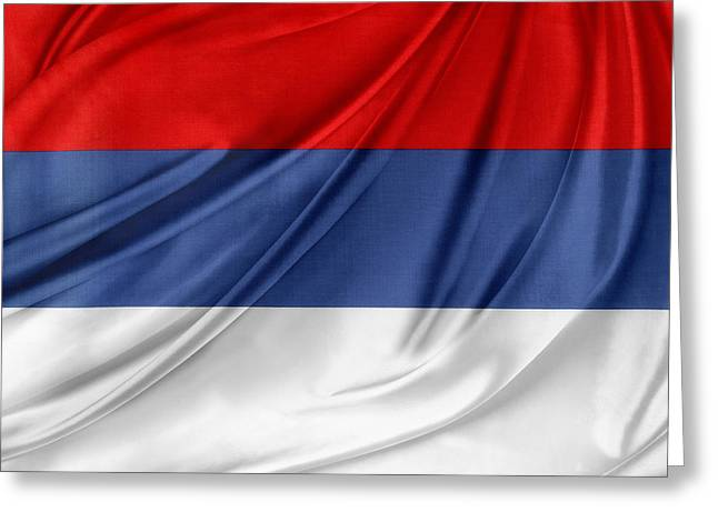 Serbian Flag Greeting Card by Les Cunliffe