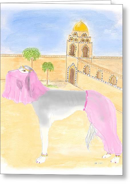 Greeting Card featuring the painting Serena All Set For Arabian Nights by Stephanie Grant