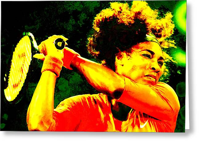 Serena Williams In A Zone Greeting Card by Brian Reaves