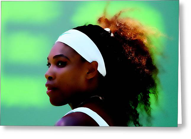 Serena Williams Match Point Greeting Card by Brian Reaves