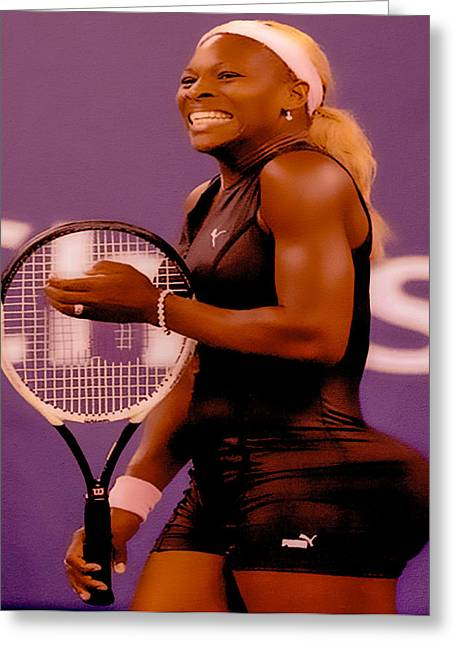 Serena Williams Oh My Greeting Card by Brian Reaves