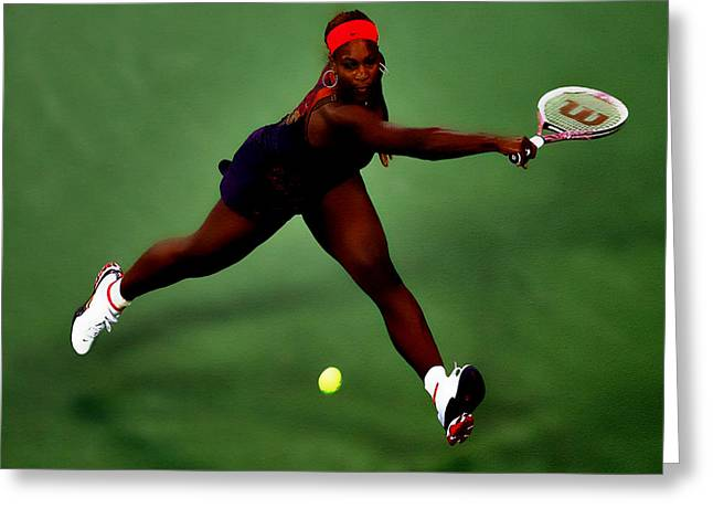 Serena Williams On Point Greeting Card by Brian Reaves