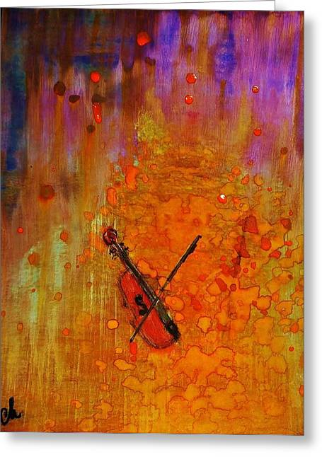 Greeting Card featuring the painting Serenade For A Rainy Day... by Cristina Mihailescu