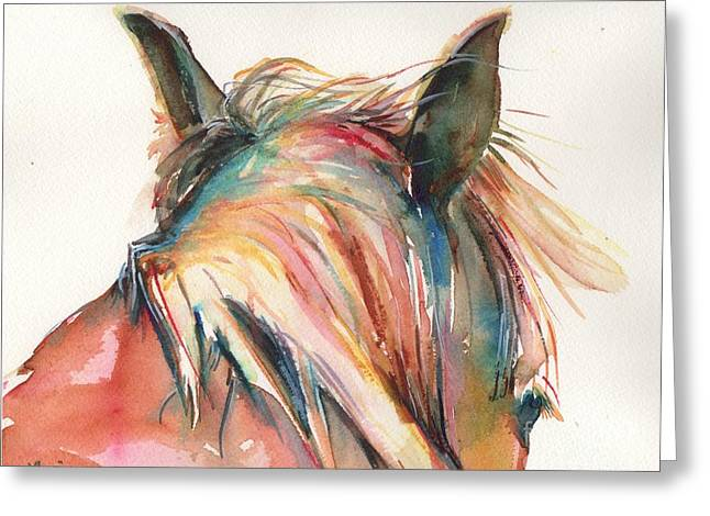 Horse Painting In Watercolor Serendipity Greeting Card