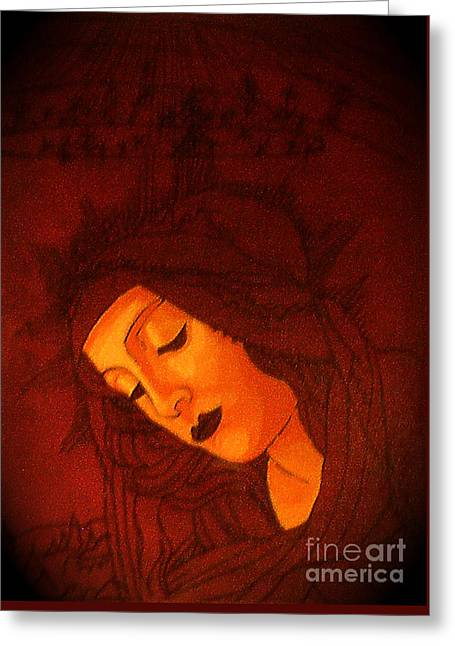 Serene Botticelli Madonna Greeting Card by Genevieve Esson