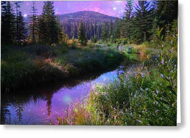 Serene Mountain Moment Greeting Card