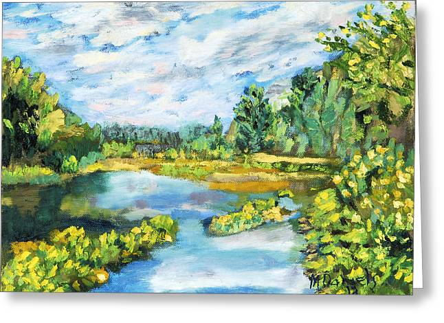 Serene Pond Greeting Card by Michael Daniels