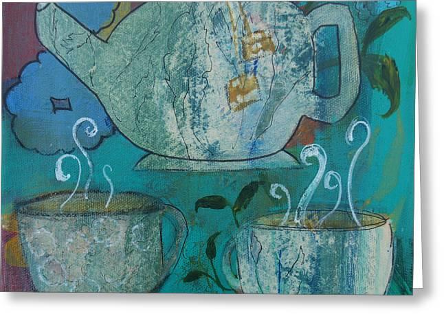 Serene Tea Greeting Card by Robin Maria Pedrero