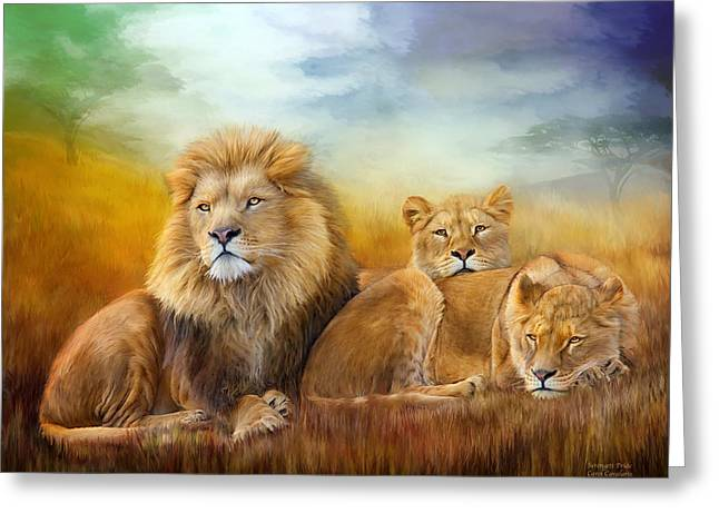 Serengeti Pride Greeting Card by Carol Cavalaris