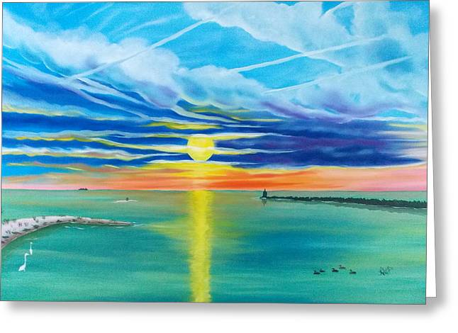 Serenity Bay Greeting Card by Kathern Welsh