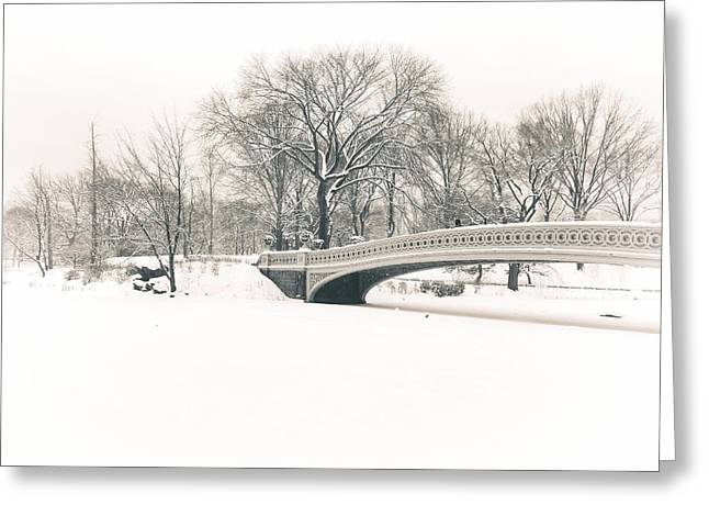 Serenity - Bow Bridge In The Snow - Central Park Greeting Card by Vivienne Gucwa