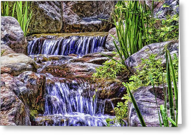 Serenity Falls Greeting Card by Nancy Marie Ricketts