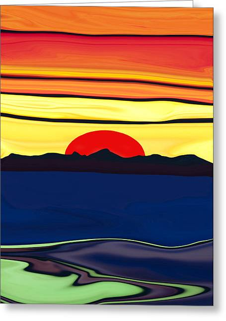 Serenity Lake Sunset Greeting Card