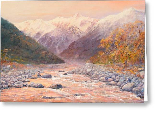 Serenity Mountains Greeting Card by Peter Jean Caley