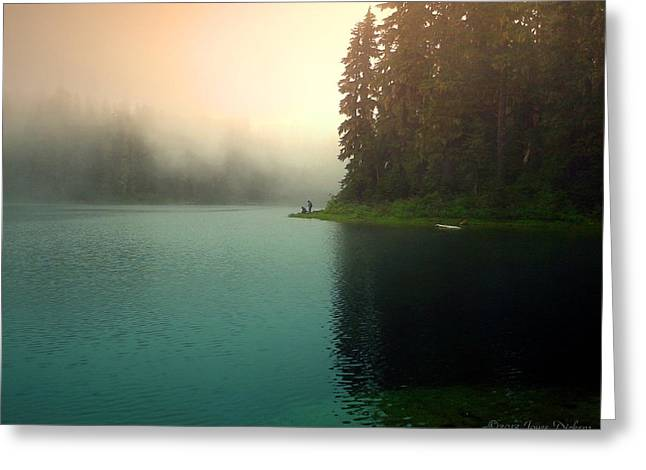 Serenity On Blue Lake Foggy Afternoon Greeting Card by Joyce Dickens