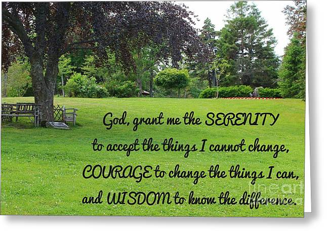 Serenity Prayer And Park Bench Greeting Card