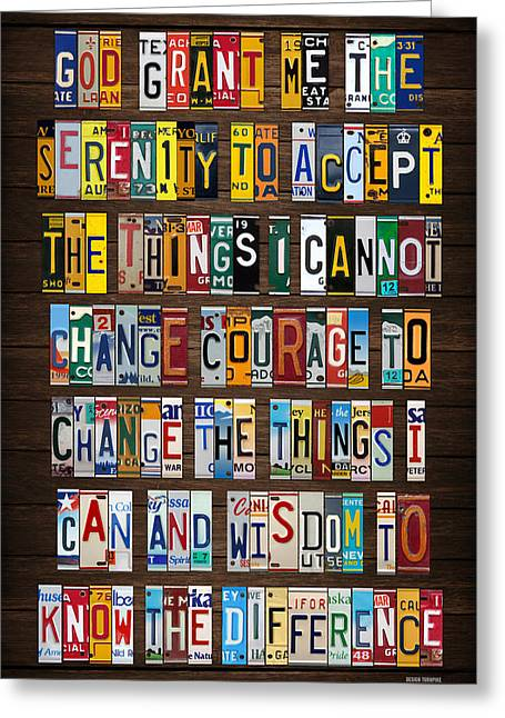 Serenity Prayer Reinhold Niebuhr Recycled Vintage American License Plate Letter Art Greeting Card by Design Turnpike