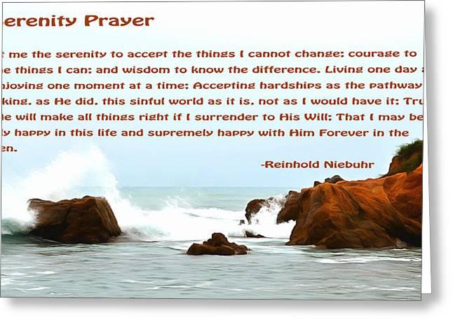 Serenity Prayer Seaspray In The Rain Greeting Card